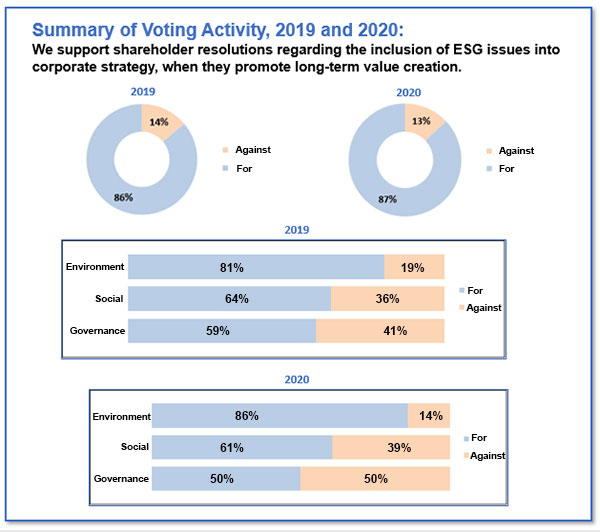 proxy voting charts for 2019 and 2020