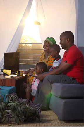 image of family with electricity in their home